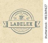 vintage round coffee shop label ...   Shutterstock .eps vector #481369627