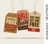 creative sale tags or labels... | Shutterstock .eps vector #481374643