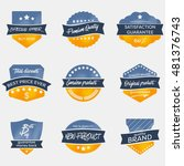 set of vintage vector badges in ... | Shutterstock .eps vector #481376743
