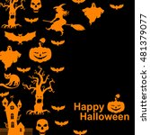 illustrations of halloween with ... | Shutterstock . vector #481379077