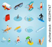 isometric surfing icons set....