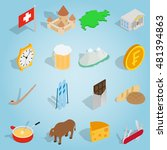 isometric switzerland icons set....