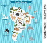 cartoon map of south america... | Shutterstock .eps vector #481395193
