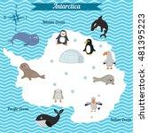cartoon map of antarctica... | Shutterstock .eps vector #481395223