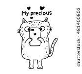 Stock vector cute sketch cartoon cat with smart phone 481400803