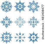 snowflake vector set  | Shutterstock .eps vector #481408477