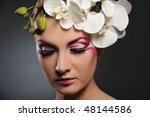beautiful woman with creative... | Shutterstock . vector #48144586