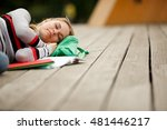 girl sleeping on backpack at... | Shutterstock . vector #481446217