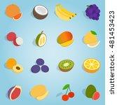 isometric fruit set icons....