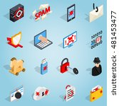 isometric 3d hacking set icons. ...
