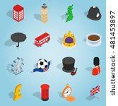 isometric britain icons set....