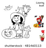 cute little witch girl with a... | Shutterstock .eps vector #481460113