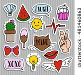 set of fashion patches  badges  ... | Shutterstock .eps vector #481460863