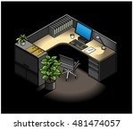 furnished office cubicle  with...   Shutterstock .eps vector #481474057