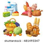 natural supermarket food sets ... | Shutterstock .eps vector #481493347
