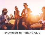 enjoying road trip with friends.... | Shutterstock . vector #481497373