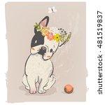 little cute sitting bulldog... | Shutterstock .eps vector #481519837