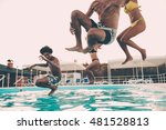 pool fun. group of beautiful... | Shutterstock . vector #481528813
