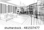 house building sketch  3d... | Shutterstock . vector #481537477