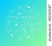 pneumonia linear icon set with... | Shutterstock . vector #481563187