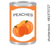 canned sweet peaches isolated...   Shutterstock .eps vector #481575727