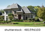 stone   stucco house with slate ... | Shutterstock . vector #481596103