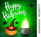 halloween greeting card with... | Shutterstock .eps vector #481600777