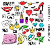 set of fashion patches elements ... | Shutterstock .eps vector #481600867