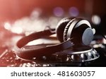 big dj headphones lay on... | Shutterstock . vector #481603057