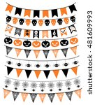 halloween banners in orange and ... | Shutterstock .eps vector #481609993