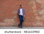 handsome guy standing near... | Shutterstock . vector #481610983