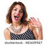 pretty woman doing surprise... | Shutterstock . vector #481639567