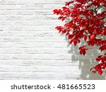 white wall red leaf autumn | Shutterstock . vector #481665523