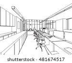 interior outline sketch drawing ... | Shutterstock .eps vector #481674517