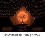 halloween party booklet. vector ... | Shutterstock .eps vector #481677937