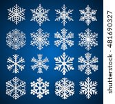 set of white snowflakes with... | Shutterstock .eps vector #481690327