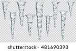 set of translucent gray icicles ... | Shutterstock .eps vector #481690393