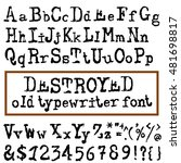 vector old typewriter font.... | Shutterstock .eps vector #481698817