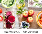 different fruits  juice and... | Shutterstock . vector #481704103