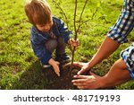 little boy helping his father... | Shutterstock . vector #481719193