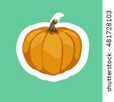 halloween pumpkin   sticker.... | Shutterstock .eps vector #481728103
