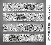 cartoon line art vector hand... | Shutterstock .eps vector #481736737