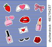fashion patch badges with lips  ... | Shutterstock .eps vector #481754257