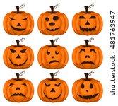 set pumpkins for halloween. set ... | Shutterstock .eps vector #481763947