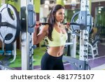 fit woman doing shoulder press... | Shutterstock . vector #481775107