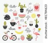 vector set of cartoon badges ... | Shutterstock .eps vector #481784623