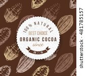 organic cocoa round label with... | Shutterstock .eps vector #481785157