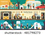 happiness family house kids... | Shutterstock .eps vector #481798273