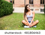 beautiful girl seat down on a... | Shutterstock . vector #481806463