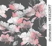 imprints flowers and leaves of... | Shutterstock . vector #481812097